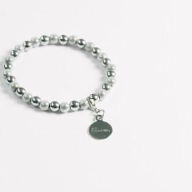 Armband – weiß/hämatit